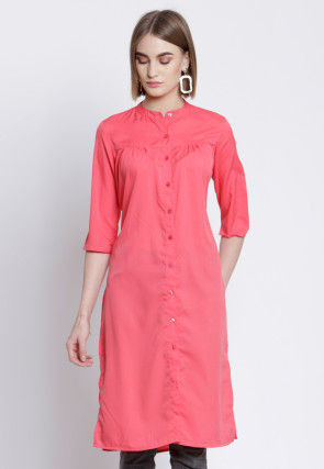 Solid Color Polyester Straight Kurta in Peach