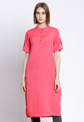 Solid Color Polyester Straight Kurta in Pink