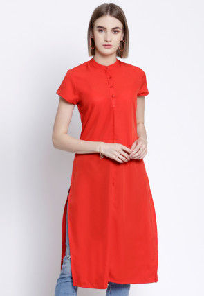 Solid Color Polyester Straight Kurta in Red