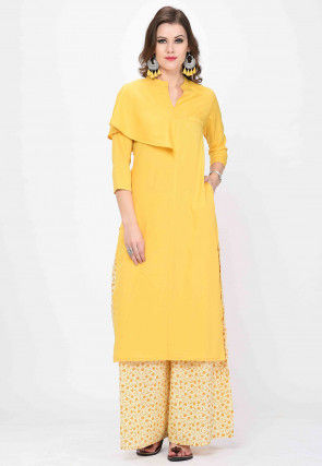Solid Color Polyester Straight Kurta in Yellow