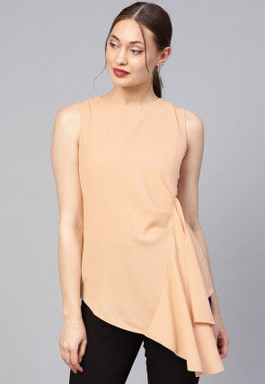 Solid Color Polyester Top in Light Peach