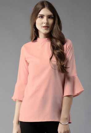 Solid Color Polyester Top in Peach