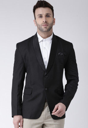 Solid Color Polyester Viscose Tuxedo in Black