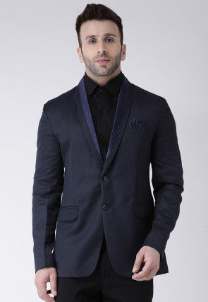 Solid Color Polyester Viscose Tuxedo in Dark Blue