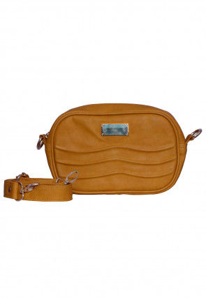 Solid Color PU Leather Fanny Pack (Waist Pouch) in Mustard
