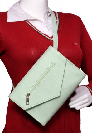 Solid Color PU Leather Fanny Pack (Waist Pouch) in Pastel Green