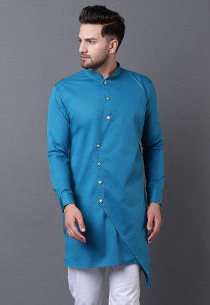 Solid Color Pure Cotton Asymmetric Kurta in Teal Blue