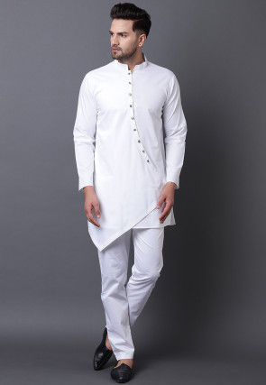 Solid Color Pure Cotton Asymmetric Kurta Set in White