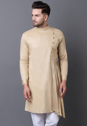 Solid Color Pure Cotton Asymmetric Pleated Kurta in Beige