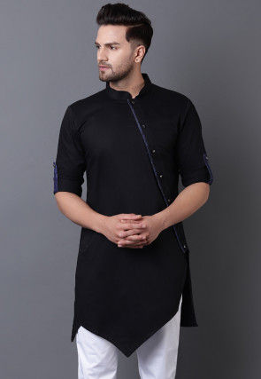 Solid Color Pure Cotton Asymmetric Pleated Kurta in Black