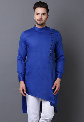 Solid Color Pure Cotton Asymmetric Pleated Kurta in Royal Blue