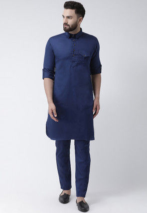 Solid Color Pure Cotton Pathani Suit in Navy Blue
