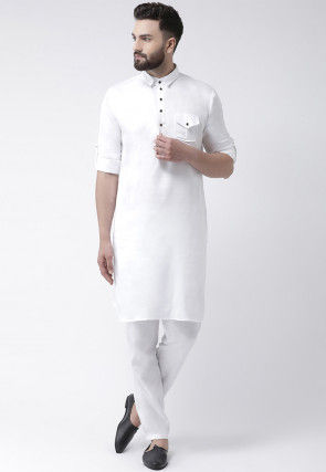 Solid Color Pure Cotton Pathani Suit in White