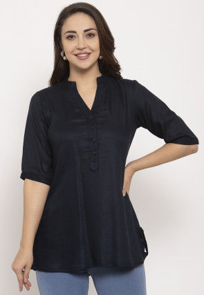 Solid Color Pure Cotton Top in Black