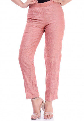 Solid Color Pure Crushed Tissue Pant in Peach