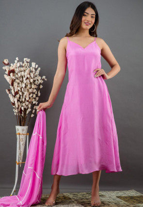 Solid Color Pure Upada Silk Dress with Dupatta in Pink
