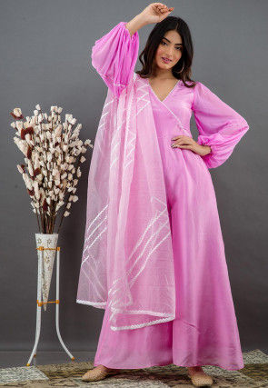 Solid Color Pure Upada Silk Jumpsuit in Pink