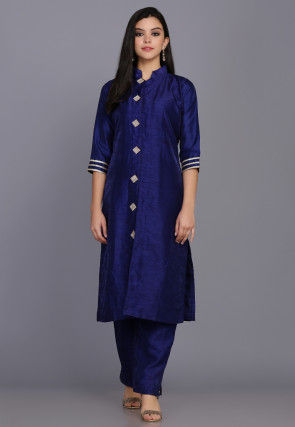 Solid Color Raw Silk Pakistani Suit in Dark Blue