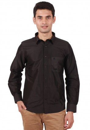 Solid Color Raw Silk Shirt in black