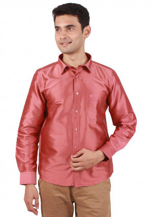 Solid Color Raw Silk Shirt in Dark Old Rose
