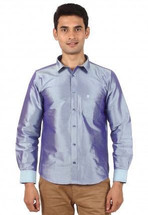 Solid Color Raw Silk Shirt in Light Blue