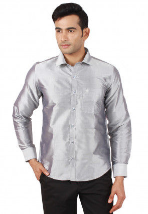 Solid Color Raw Silk Shirt in Light Grey