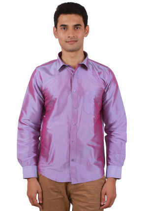 Solid Color Raw Silk Shirt in Light Purple