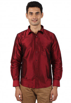 Solid Color Raw Silk Shirt in Maroon