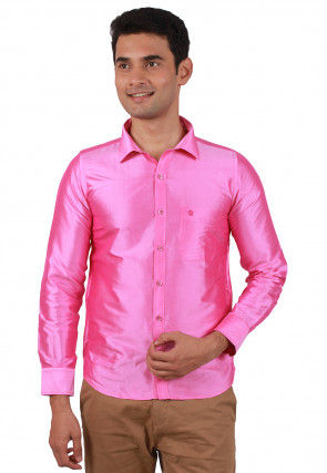 Solid Color Raw Silk Shirt in Pink