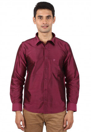 Solid Color Raw Silk Shirt in Purple