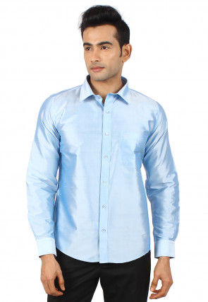 Solid Color Raw Silk Shirt in Sky Blue