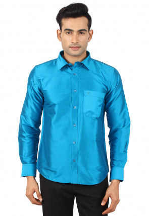 Solid Color Raw Silk Shirt in Turquoise