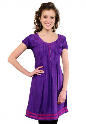 Solid Color Rayon A line Kurti in Purple