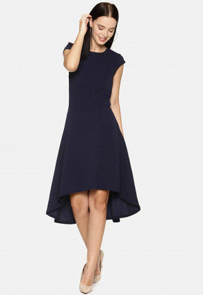Solid Color Rayon Asymmetric Dress in Navy Blue