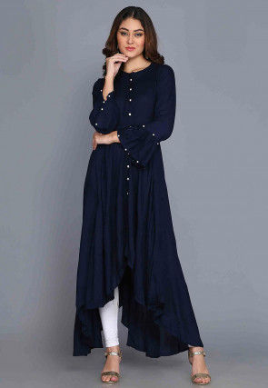 Solid Color Rayon Asymmetric Kurta in Navy Blue