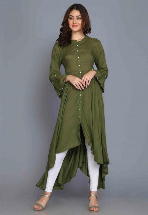 Solid Color Rayon Asymmetric Kurta in Olive Green