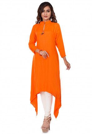 Solid Color Rayon Asymmetric Kurta Set in Orange