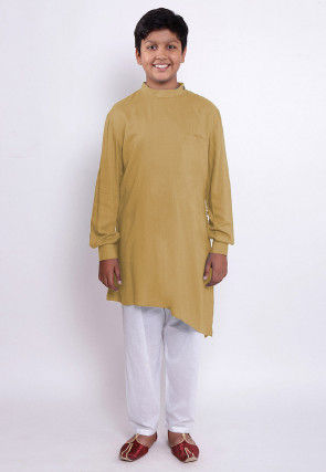 Solid Color Rayon Asymmetric Kurta Set in Beige