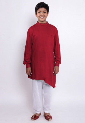 Solid Color Rayon Asymmetric Kurta Set in Red