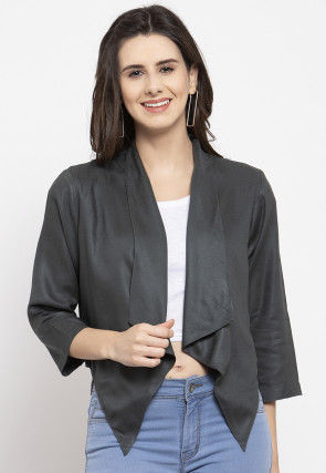 Solid Color Rayon Asymmetric Shrug in Dark Grey