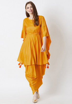Solid Color Rayon Clinched Waist Kurti Set in Mustard
