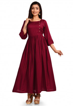 Solid Color Rayon Cotton A Line Kurta in Maroon