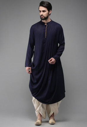 Solid Color Rayon Cotton Cowl Style Dhoti Kurta in Navy Blue