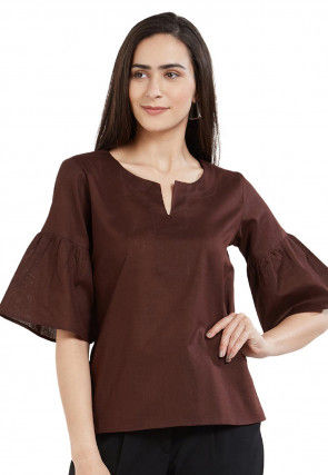 Solid Color Rayon Cotton Top in Brown
