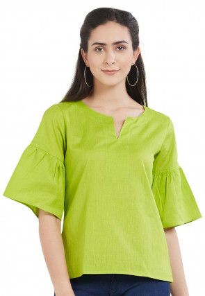 Solid Color Rayon Cotton Top in Green