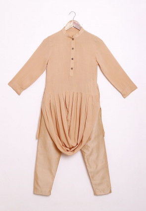 Solid Color Rayon Cowl Style Kurta Set in Beige