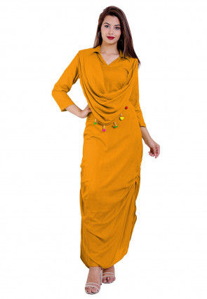 Solid Color Rayon Cowl Style Maxi Dress in Mustard