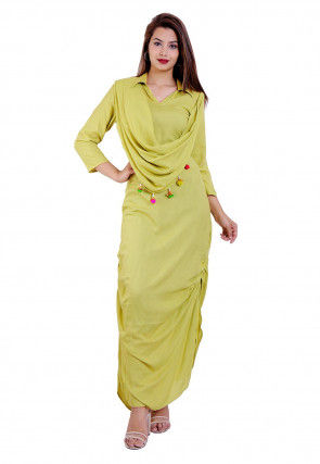 Solid Color Rayon Cowl Style Maxi Dress in Yellow