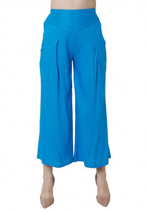 Solid Color Rayon Culottes in Blue