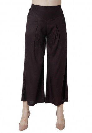 Solid Color Rayon Culottes in Brown